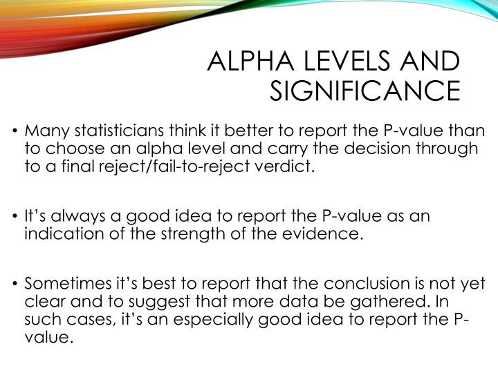 Alpha levels and significance