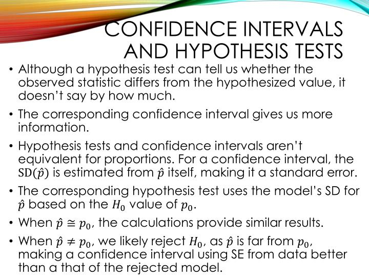 Confidence intervals and hypothesis tests