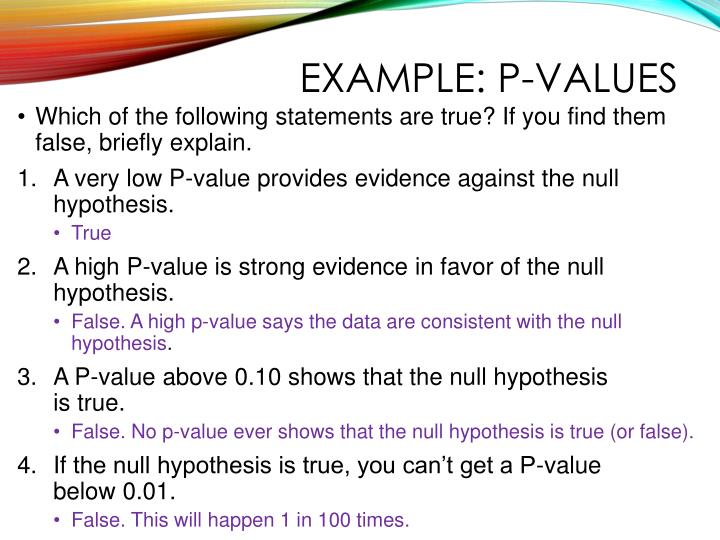 Example: P-values