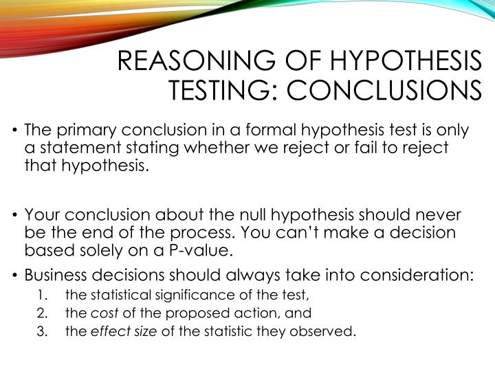 Reasoning of hypothesis testing: