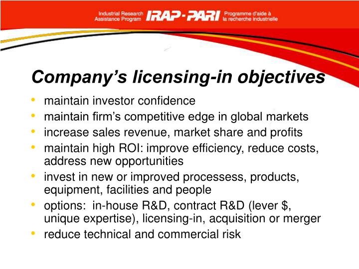 Company's licensing-in objectives