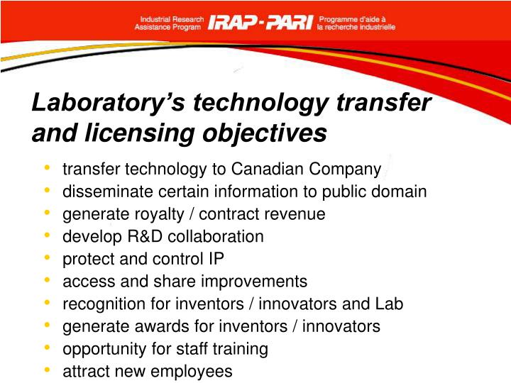 Laboratory's technology transfer and licensing objectives