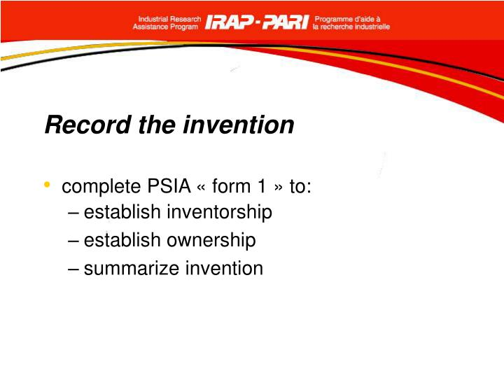 Record the invention