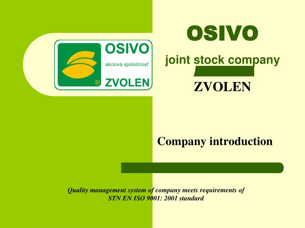 ppt osivo joint stock company zvolen company introduction