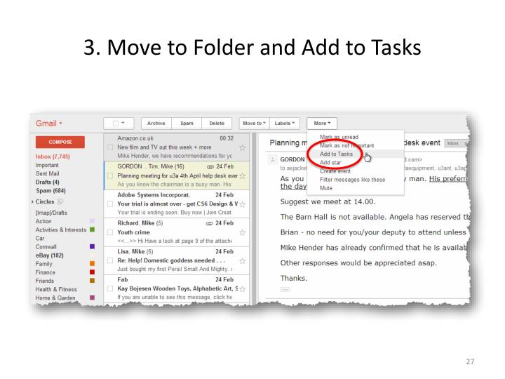 3. Move to Folder and Add to Tasks