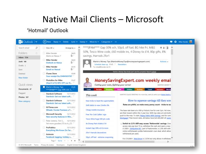 Native Mail Clients – Microsoft