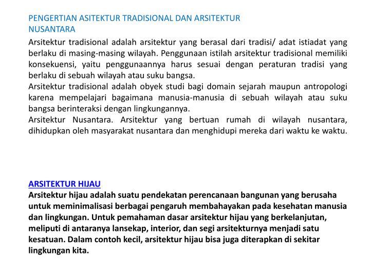 PENGERTIAN ASITEKTUR TRADISIONAL DAN ARSITEKTUR NUSANTARA