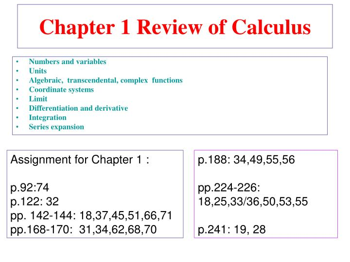 Chapter 1 review of calculus