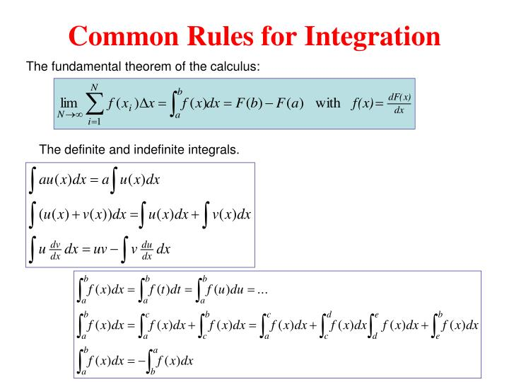 Common Rules for Integration