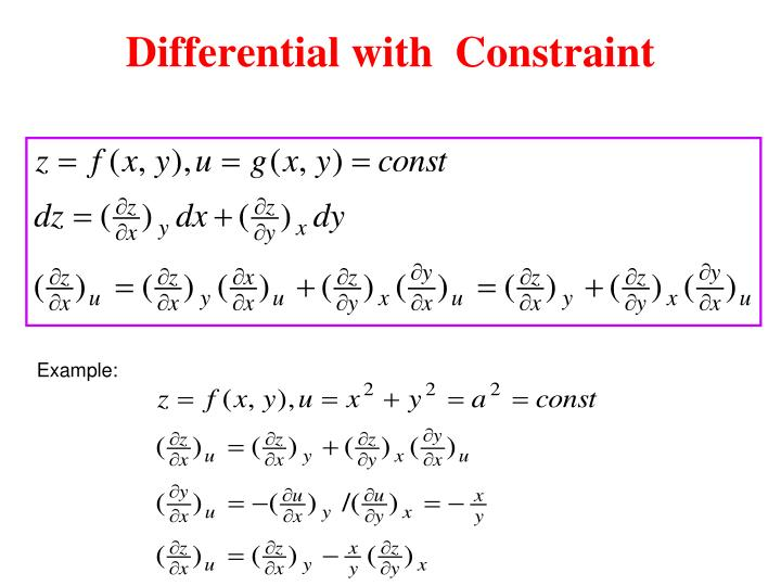 Differential with  Constraint