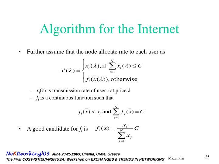Algorithm for the Internet