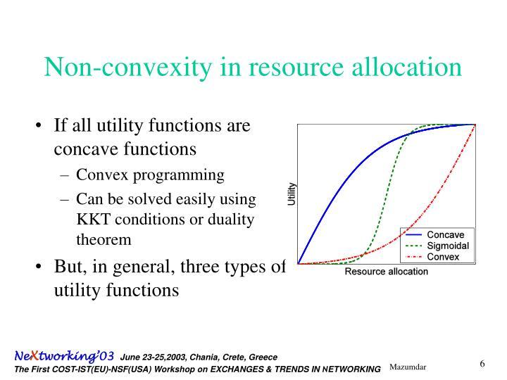 Non-convexity in resource allocation