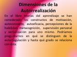 dimensiones de la autorrealizaci n