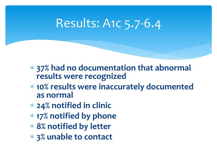 Results: A1c 5.7-6.4