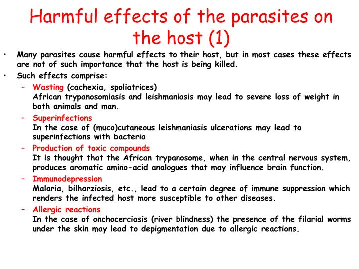 Harmful effects of the parasites on the host (1)