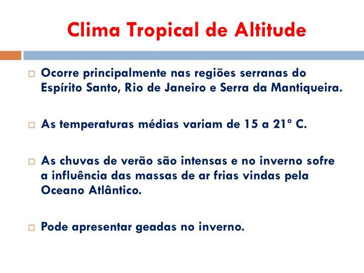 Clima Tropical de Altitude