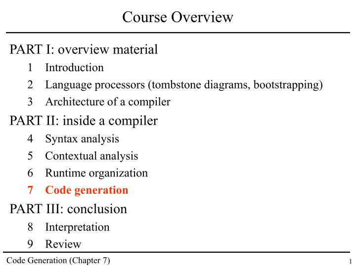 course overview n.