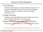 issues in code generation
