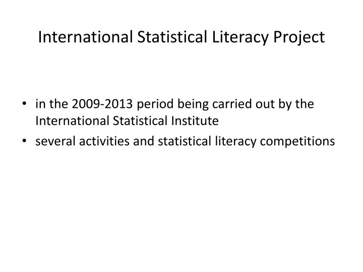 International Statistical Literacy Project