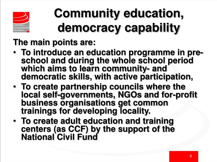 Community education, democracy capability