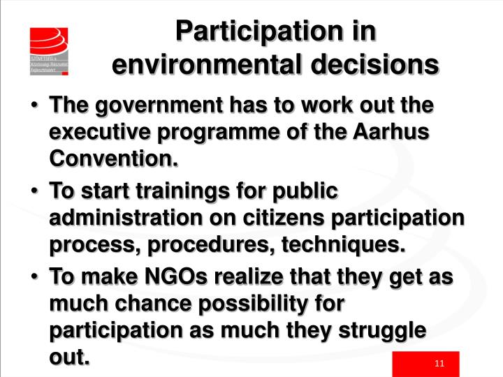 Participation in environmental decisions