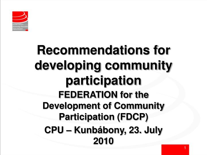 Recommendations for developing community participation