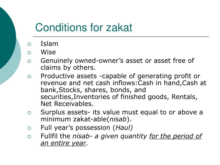 Conditions for zakat