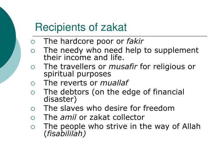 Recipients of zakat