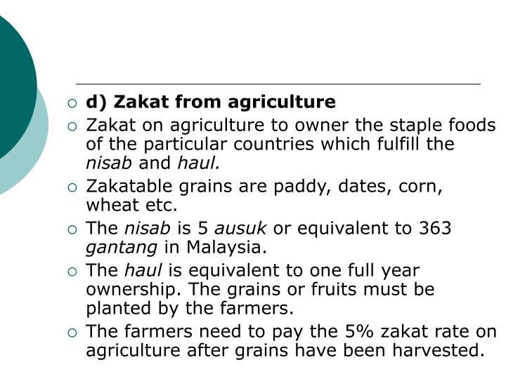 d) Zakat from agriculture