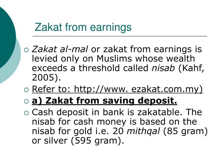 Zakat from earnings