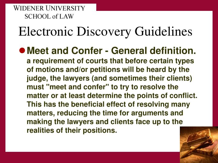 electronic discovery guidelines n.