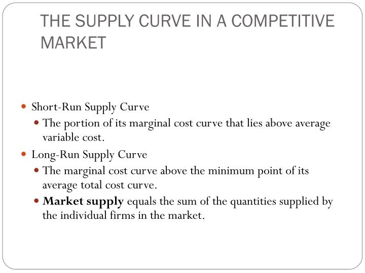 THE SUPPLY CURVE IN A COMPETITIVE MARKET
