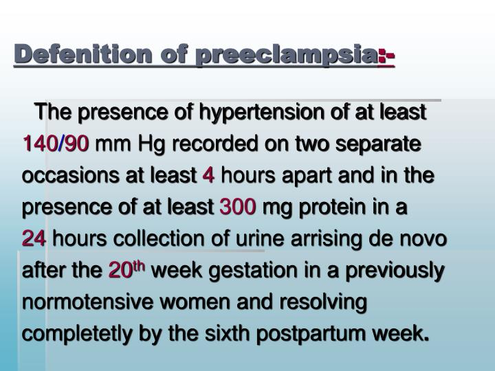 Defenition of preeclampsia