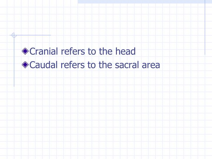 Cranial refers to the head