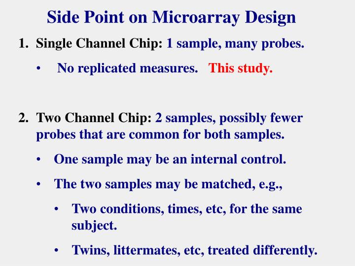 Side Point on Microarray Design