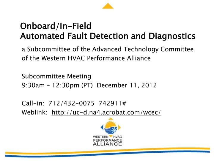 onboard in field automated fault detection and diagnostics n.