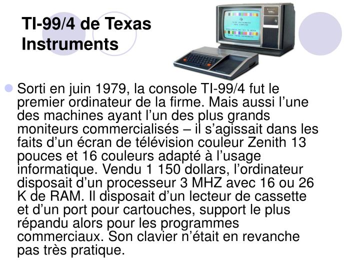 TI-99/4 de Texas Instruments