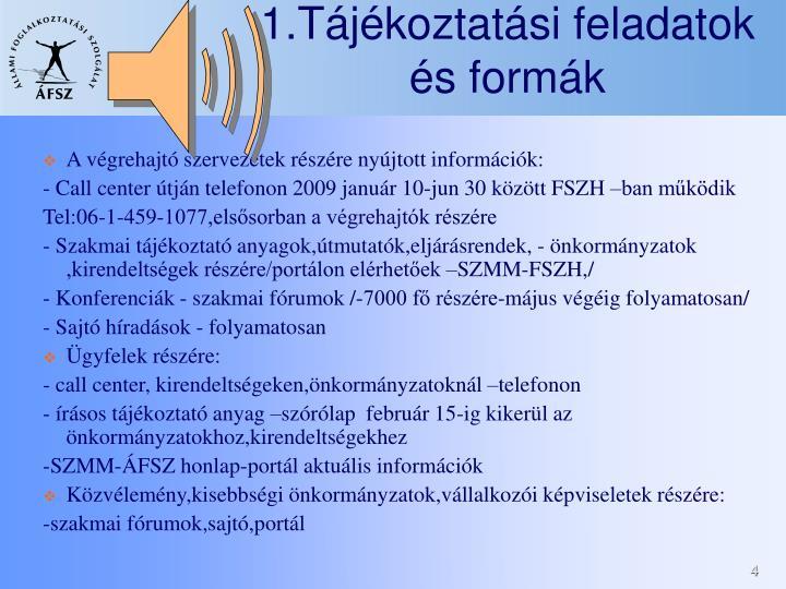 1.Tájékoztatási feladatok és formák
