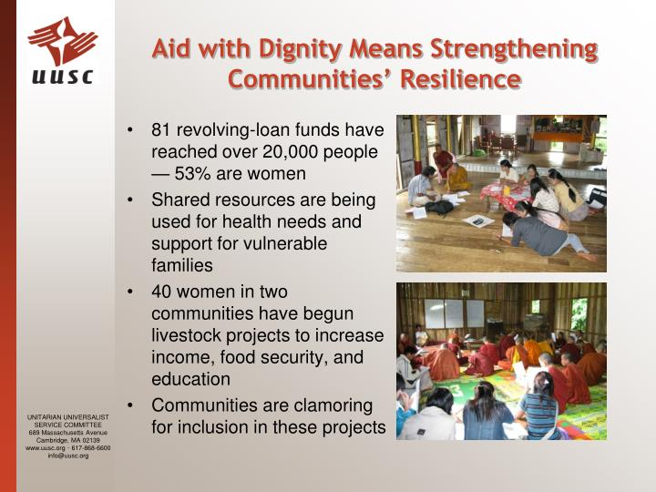 Aid with Dignity Means Strengthening Communities' Resilience