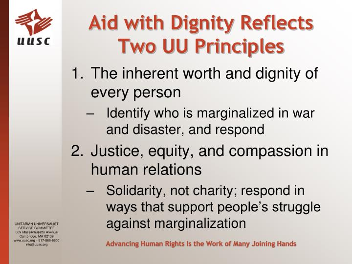 Aid with Dignity Reflects Two UU Principles
