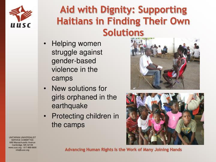 Aid with Dignity: Supporting Haitians in Finding Their Own Solutions