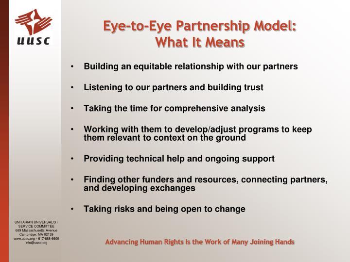 Eye-to-Eye Partnership Model: