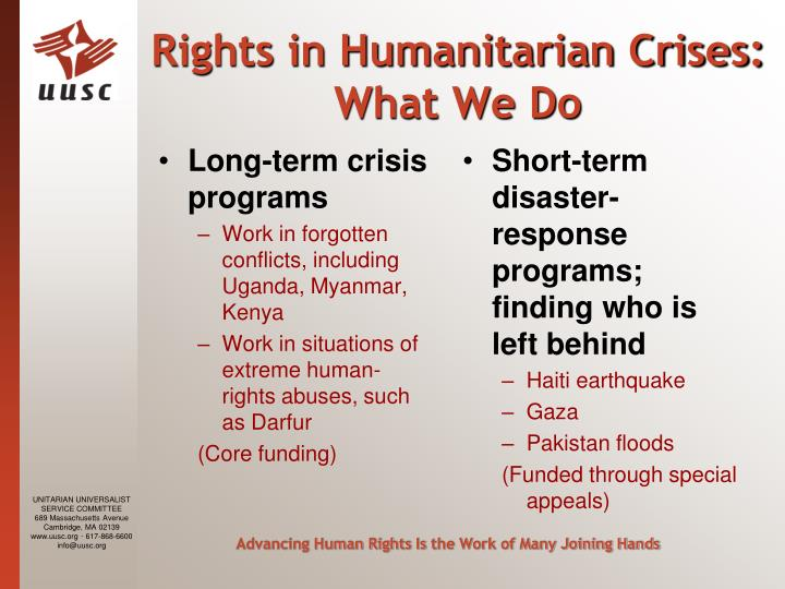 Long-term crisis programs