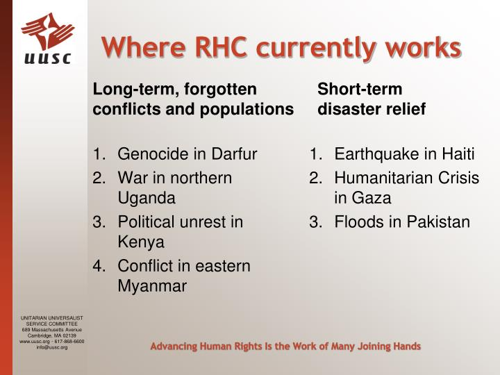 Where RHC currently works