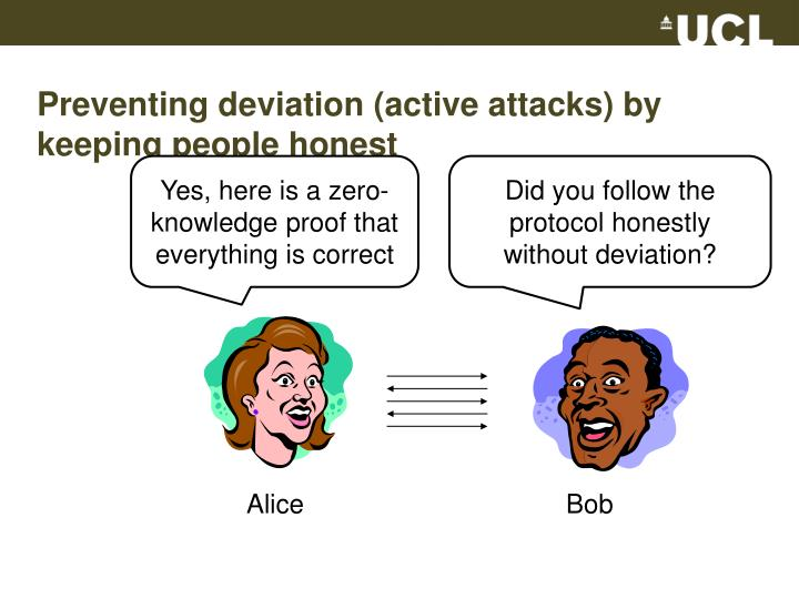 Preventing deviation (active attacks) by keeping people honest