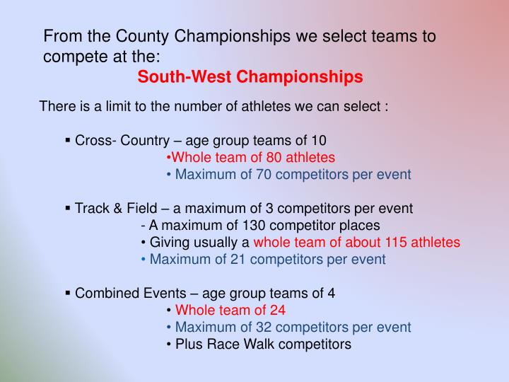 From the County Championships we select teams to compete at the: