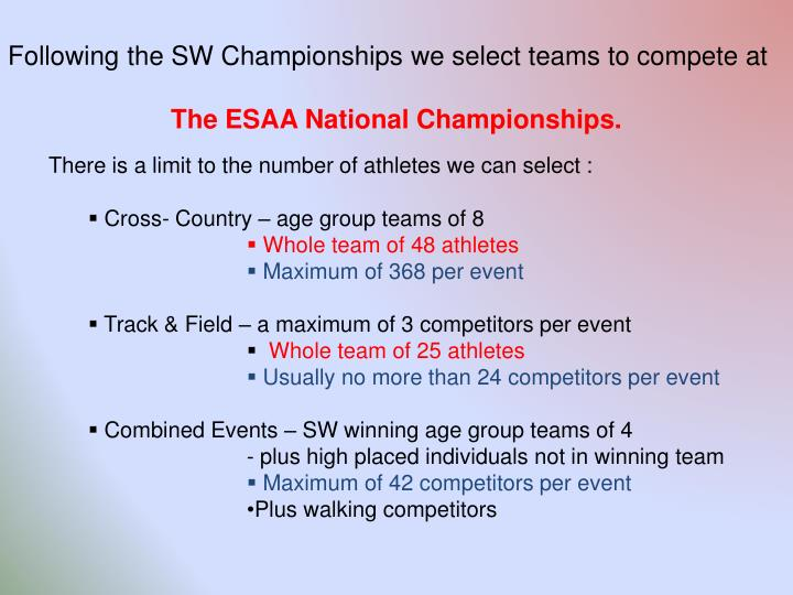 Following the SW Championships we select teams to compete at