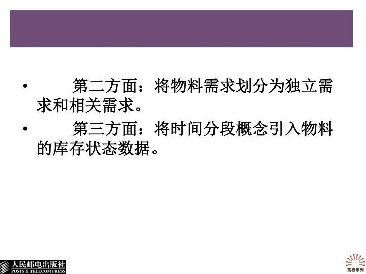 第二方面:将物料需求划分为独立需求和相关需求。