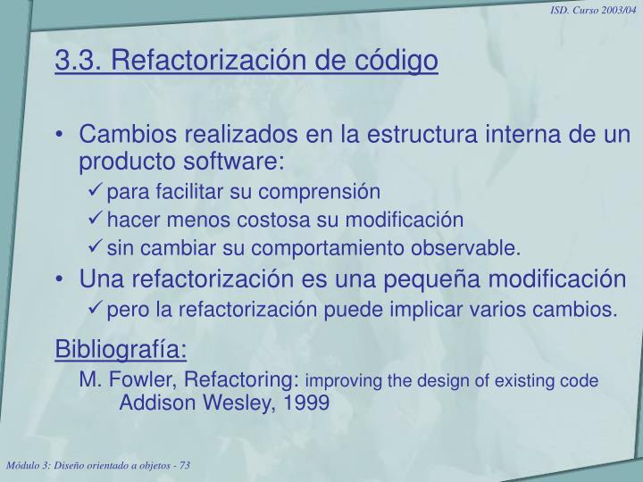 3.3. Refactorización de código