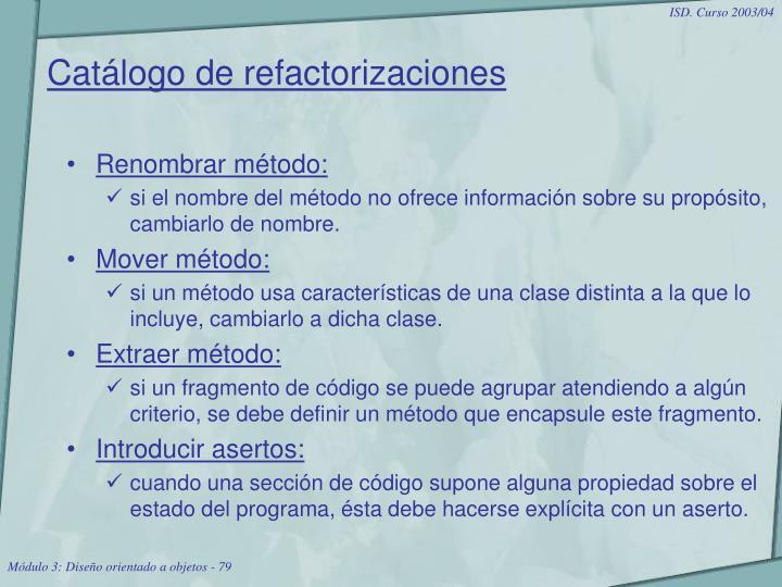Catálogo de refactorizaciones
